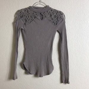 🔥MUST GO: Free People Ribbed Long Sleeve w/ Lace